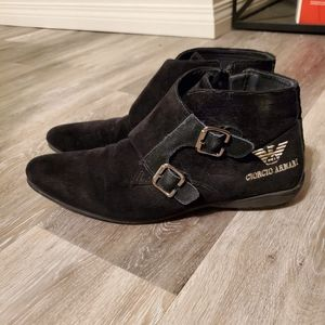 Black Monk Strap Zip Up Boots